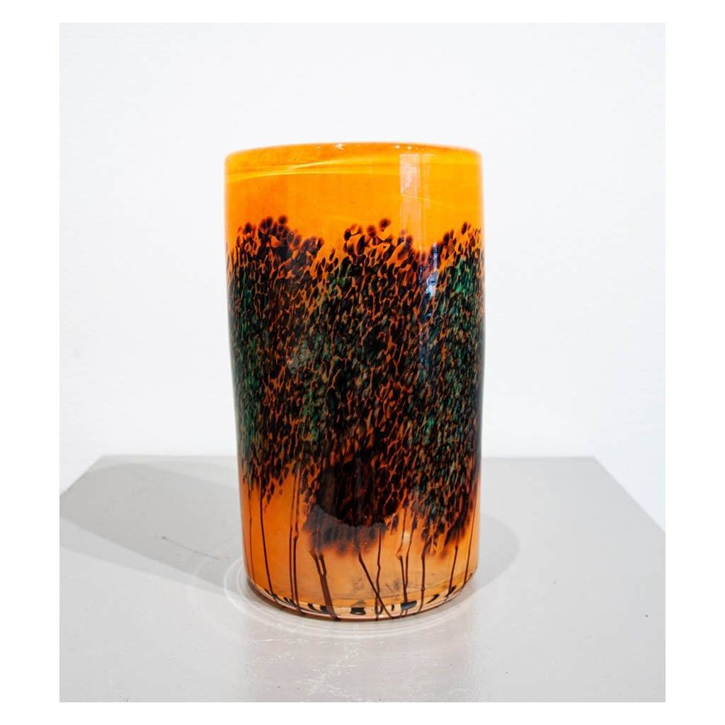 West Coast Scape Wide Cylinder Vase Hand Blown Glass by Robert Held