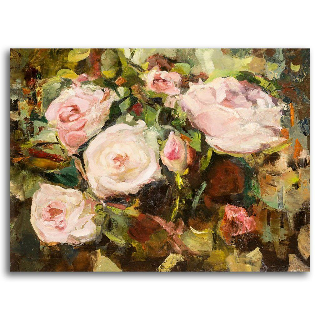 White Roses with Spring Green Oil on Canvas by Gabryel Harrison