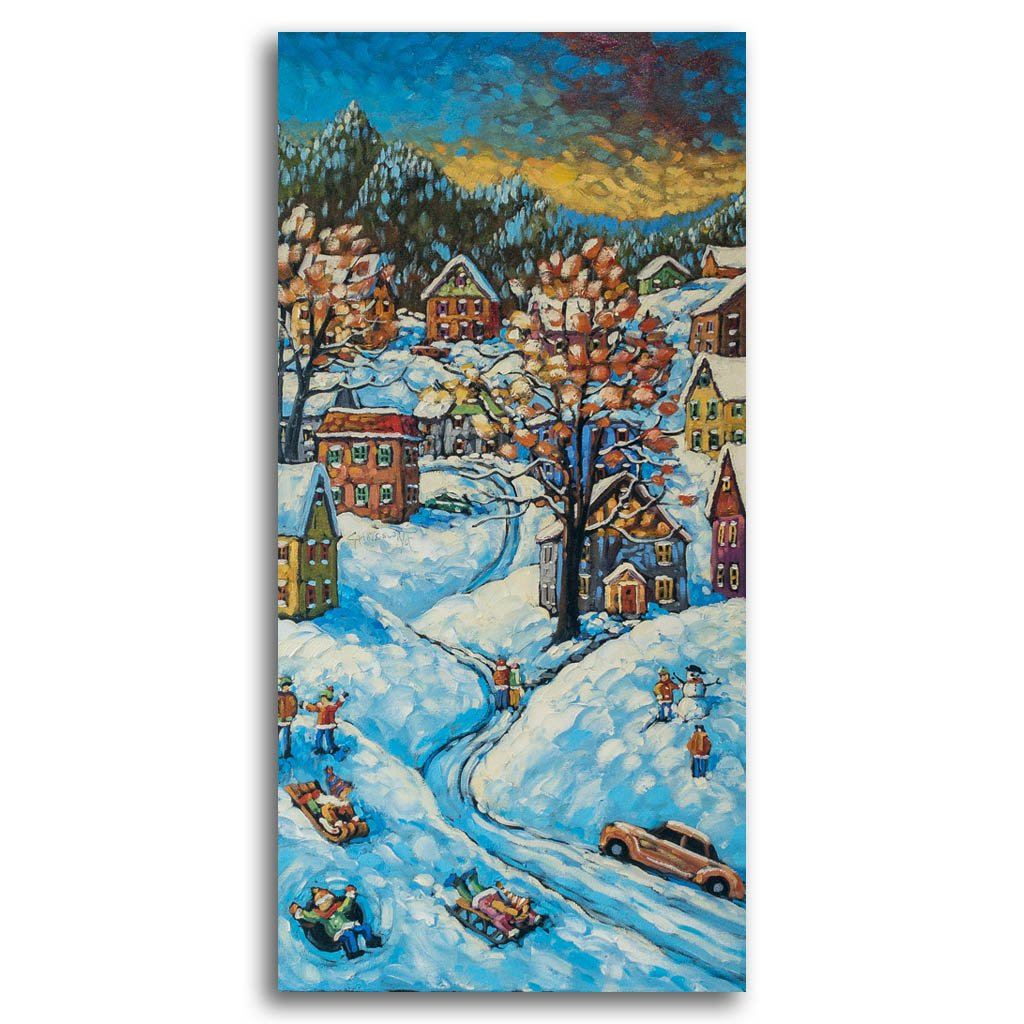 Winter Fun, Early Snow Oil on Canvas Rod Charlesworth