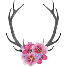 Load image into Gallery viewer, Antlers Pink Flowers Heat Transfer