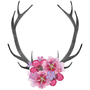 Antlers Pink Flowers Heat Transfer
