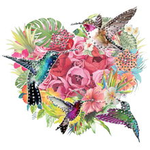 Load image into Gallery viewer, Birds Flower Rhinestone Transfer
