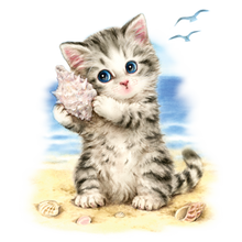 Load image into Gallery viewer, Seashell Kitten Heat Transfer