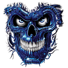 Load image into Gallery viewer, Terminator Skull Blue Heat Transfers