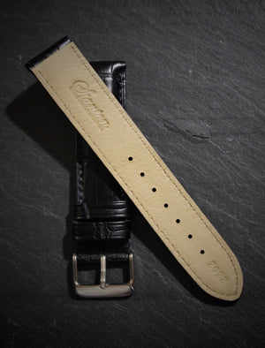Black Alligator Strap - Matte Finish 20mm