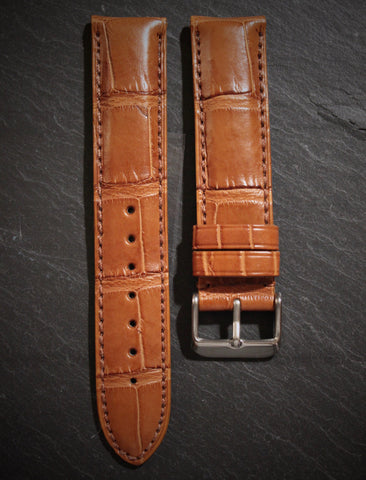 Brown Alligator Strap - Matte Finish 20mm
