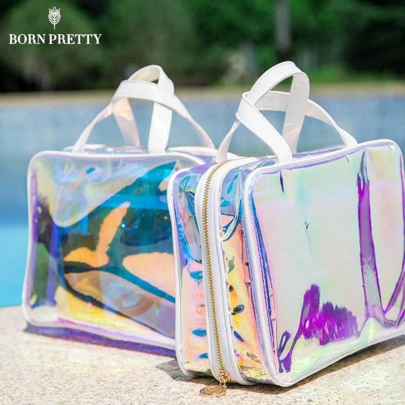 BORN PRETTY Holographic Jelly Bag Rainbow Waterproof Cosmetic Beauty Case for Women Transparent Purse Kit