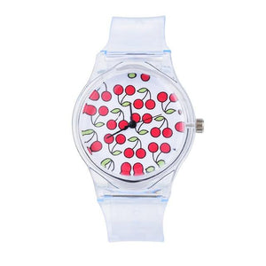 Women'S Casual Crystal Plastic Transparent Sports Watch