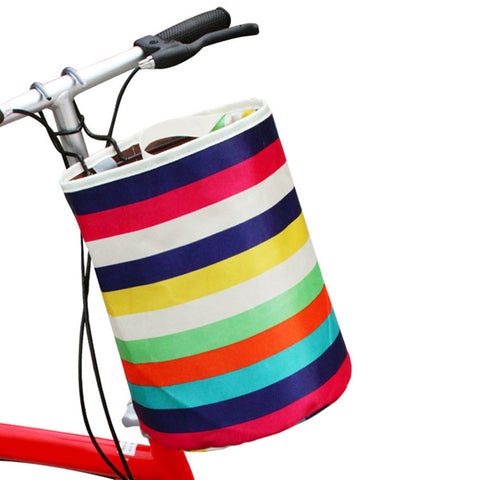 Cycling Bicycle Rainbow Stripe Basket Front Storage Carrier Shopping Bag Handbag