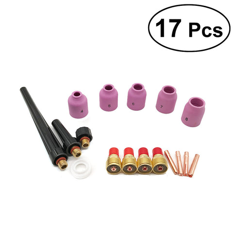 17Pcs TIG Gas Lens Collet Body Assorted Size Kit Fit SR WP9 20 25 TIG Welding Torch