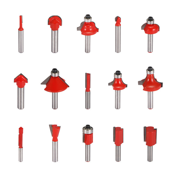 15PCS Professional Router Bit Set Tungsten Carbide Milling Cutter Tools Set 6.35mm Shank for Woodworking