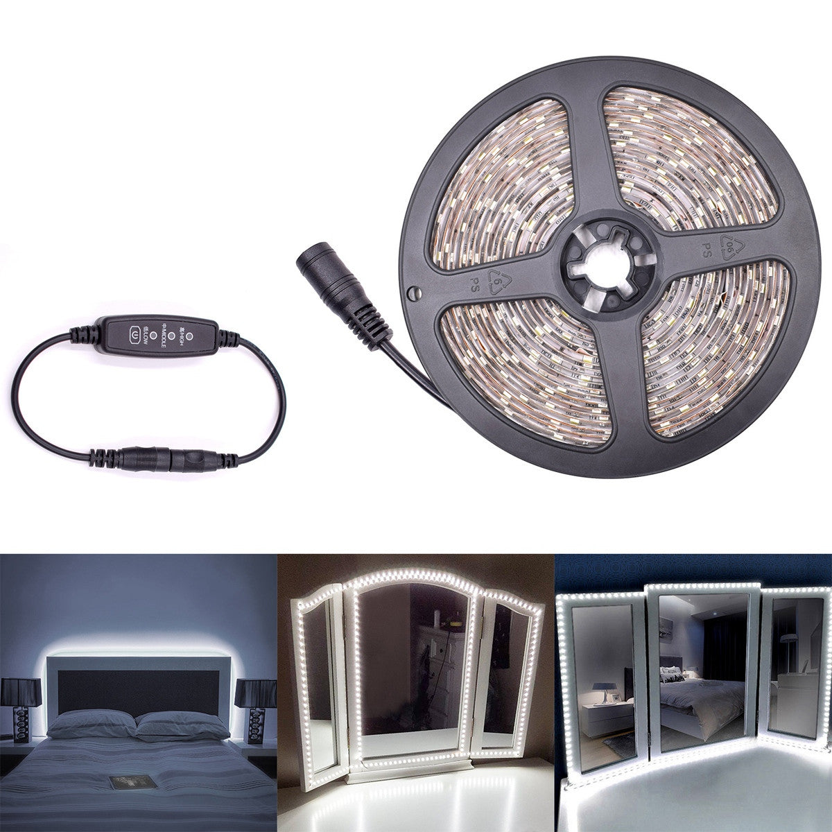 5M LED 5050 Strip Light with Power Adapter Light Ribbon for Cosmetic Mirror TV Background Party Home Decoration