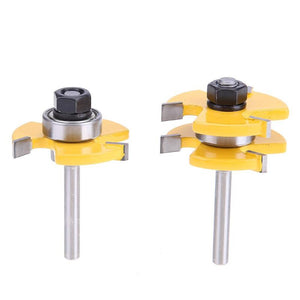 2pcs 1/4 inch T-shape Milling Cutter Shank Woodworking Cutter Tongue Groove Router Bit Wooden Carving Knife Milling Cutter Tool