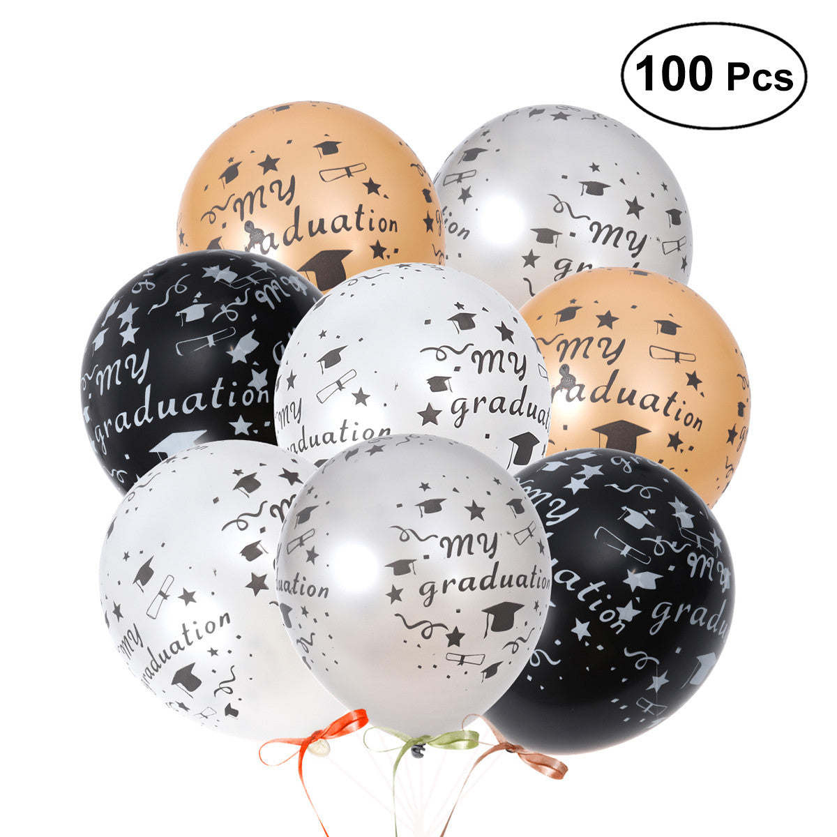 100Pcs 12 Inch Latex Rubber Balloons for Graduation Party Decoration