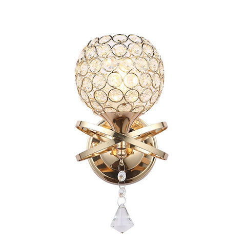 Modern Creative LED Mount Light Fixture Crystal Wall Lights Hallway Bedroom Decorative Sconces Wall Lighting (Golden)