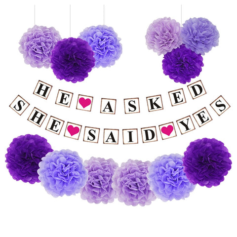 13 Pcs Tissue Paper Flowers Pom Poms DIY Paper Garland Banner Kit for Engagement Wedding Birthday Party Decoration (Purple)