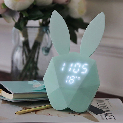 Rabbit Model Alarm Clock Intelligent Voice Control USB Charging Small Light
