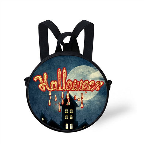 Small Round School Bag Dual-use Boys Girls Backpack Halloween Gift For Kid