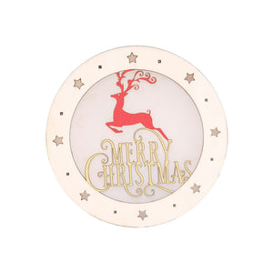 Creative Chrsitmas Decorations Elk Wooden Round Battery Led Light Hanging Ornaments for Christmas Festival Party Props