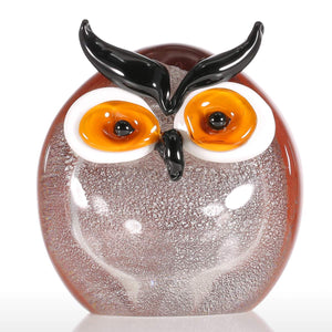 Tooarts Chubby Owl Glass Ornament Animal Figurine Handblown Home Decor Multicolor