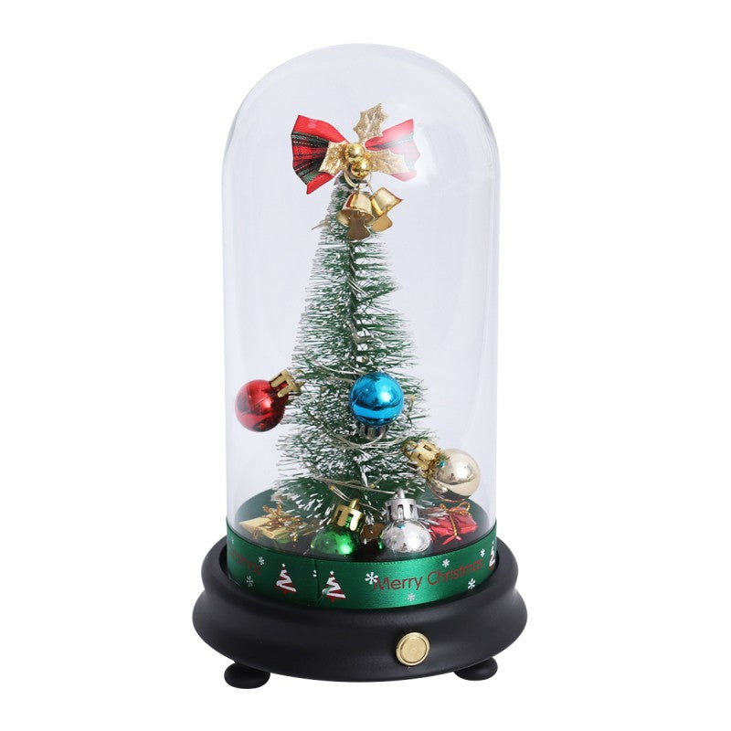LED Light String Glass Cover Christmas Tree in a Glass Dome on A Wooden Base for Xmas Party Club Decoration Not Included Battery (Button Pattern)