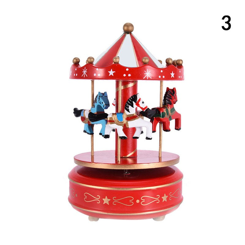 Music Wooden Horse Carousel Musical Box Child Toy Home Decor Birthday Gift Game