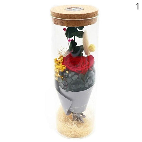 Led Light Eternal Rose Flower Preserved Beauty Real Natural Fresh Red Roses Flowers Gifts