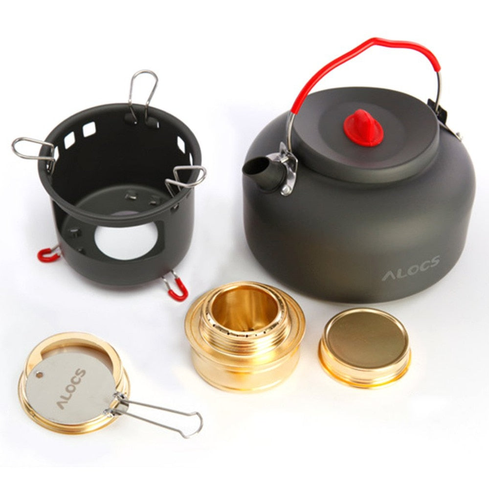 alocs CW-K04-PRO Fashion Casual Outdoor Kettle Set Outdoor Water Kettle Travel Camping Picnic Cookware Ultralight Pot