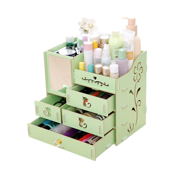 Multifunctional Desktop Storage Box Assembly Wooden Large Capacity Makeup Cosmetic Storage Box with Mirror Multi Drawers DIY Jewelry Container Organizer