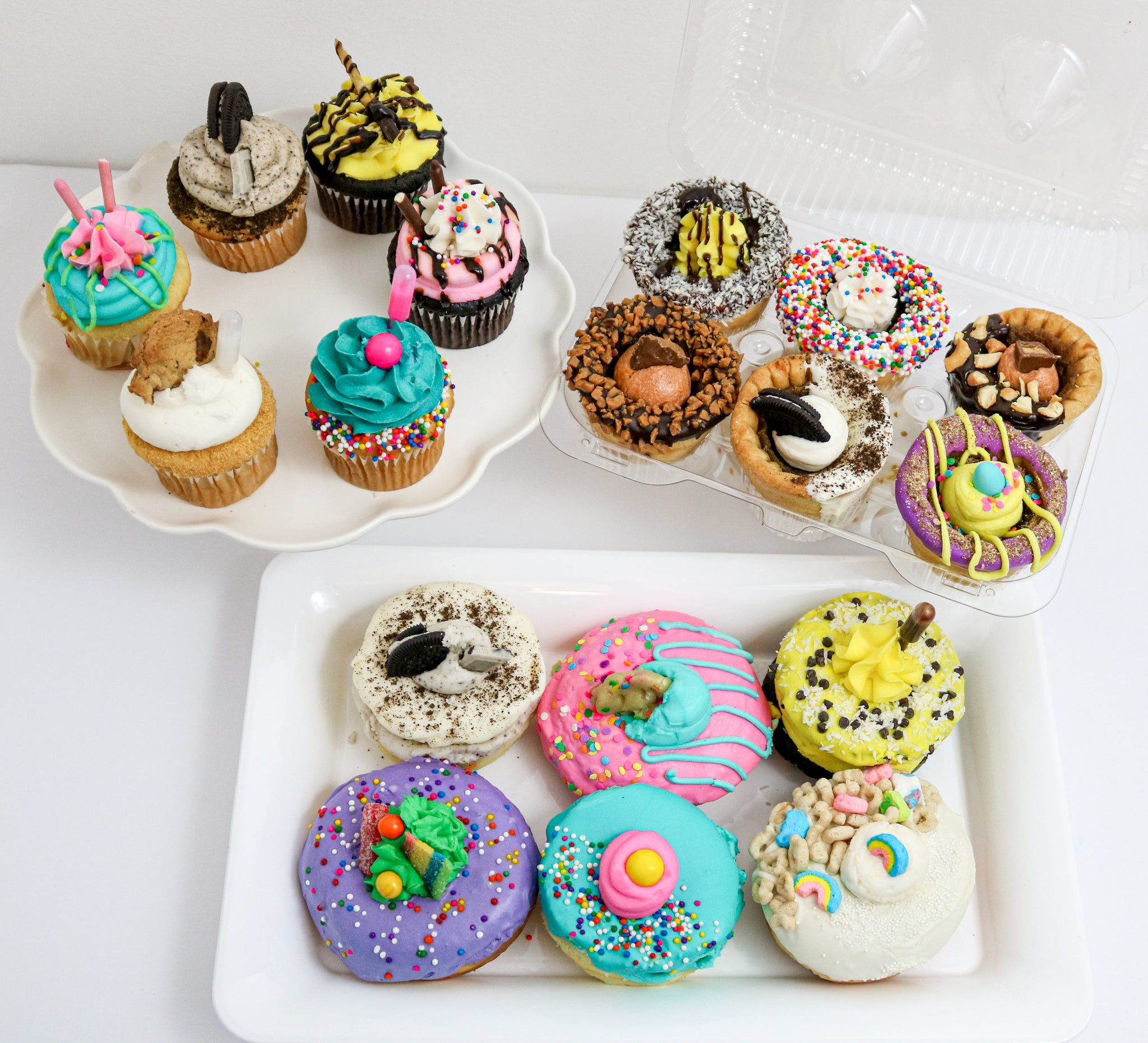The Everything Dessert Corporate Pack 48 Pieces (12 Donuts, 12 Cupcakes, 12 Butter Tarts, 12 French Macarons) - Chick Boss Cake London Ontario