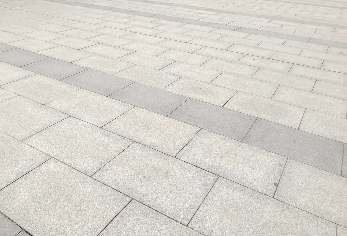 plaza paving of silver grey granite