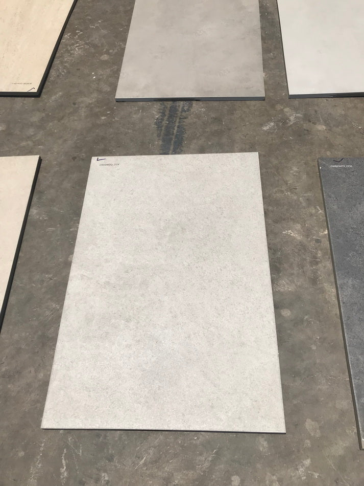 grey travertine effect porcelain paving