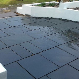 China Slate Paving Slabs, Midnight Black Slate 600 x 600