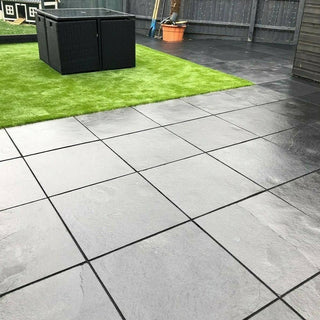 Black Limestone Paving, Sawn Edge 22mm Calibrated 600x600 £17.53/m2