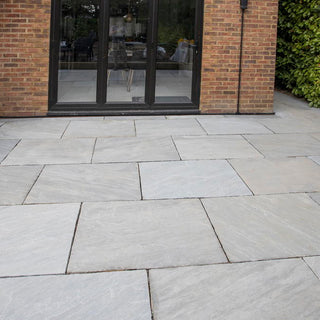 Kandla Grey Sandstone Paving Slabs, Light Grey 900x600 22mm £22.70/m2