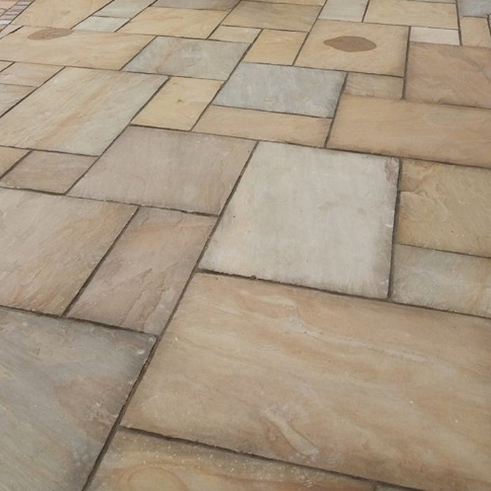 Rippon Buff Indian Sandstone Paving Slabs 22mm Calibrated - Patio Packs £18.79/m2