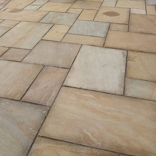 Rippon Buff Sandstone Paving Slabs, Patio Packs 22mm Cal. £23.39/m2