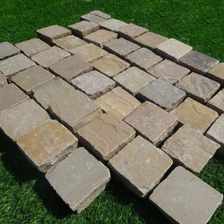 Raj Green Sandstone Setts & Cobbles 100 x 100 x 50mm, £44.39/m2