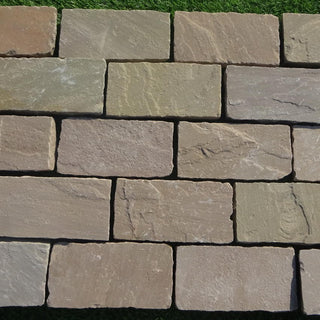 Raj Green Sandstone Setts & Cobbles 200 x 100 x 50mm, £44.39/m2