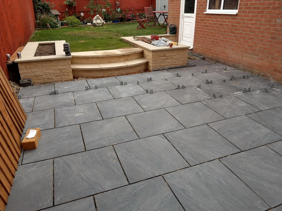 Porcelain Paving, Anthracite Black Slabs 600x600x20mm £27.29/m2 | Stone  Paving Direct