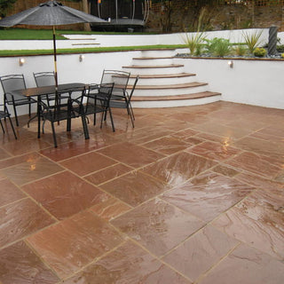 Autumn Brown Indian Sandstone Paving Slabs 22mm Calibrated - Patio Packs £17.78/m2