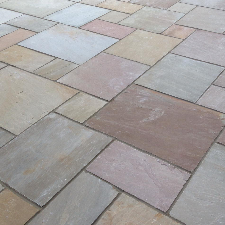 Autumn Brown blend Sandstone Paving Natural Indian patio slabs flags 600×900