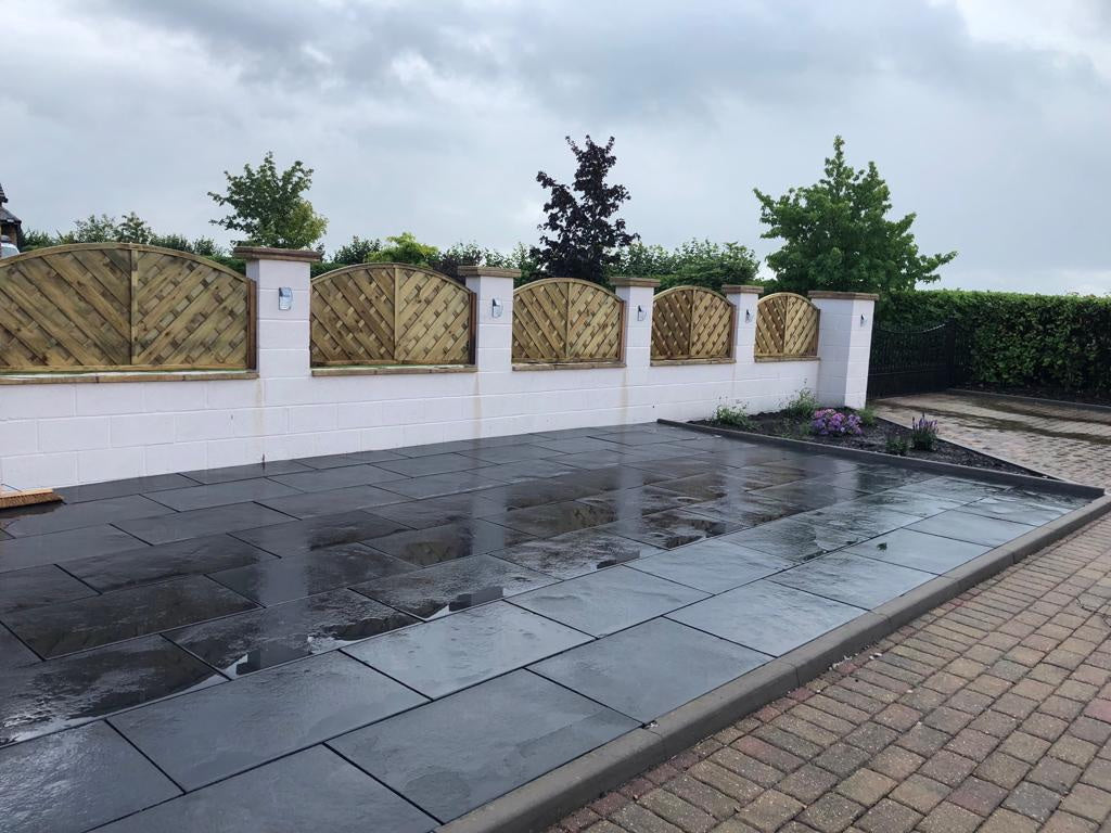 Black Limestone Linear Paving Slabs, Midnight Plank 900 x 200 22mm, £19.99/m2