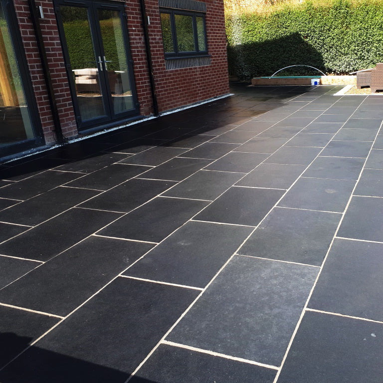 Midnight Black Limestone Paving, Sawn 900 x 600 22mm, £18.19/m2