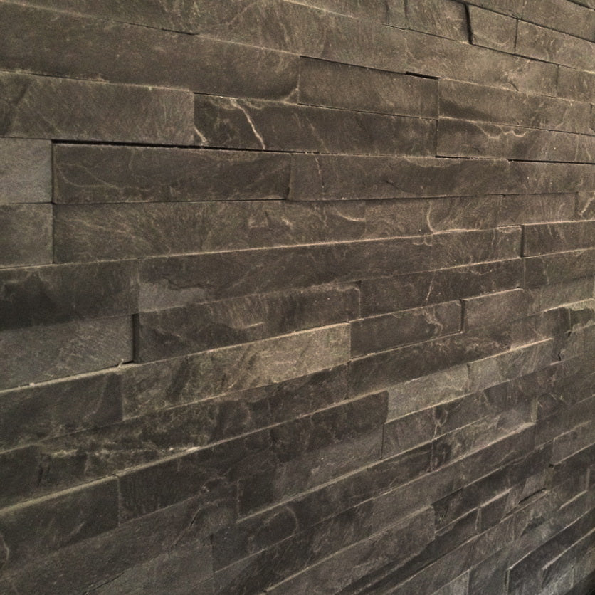 Stone Wall Cladding, Black Slate, Split Face Tiles, 360x100