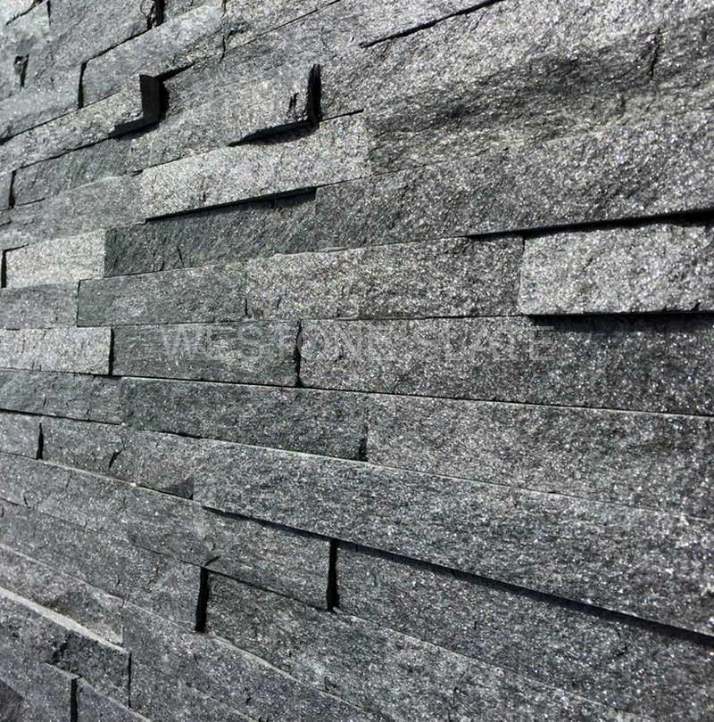 Stone Cladding, Black Sparkle Quartz Split Face Mosaic Tiles 360x100 £23.49/m2