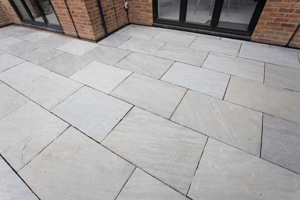 Kandla Grey Sandstone Paving Slabs, Light Grey 900x600 22mm £22.16/m2