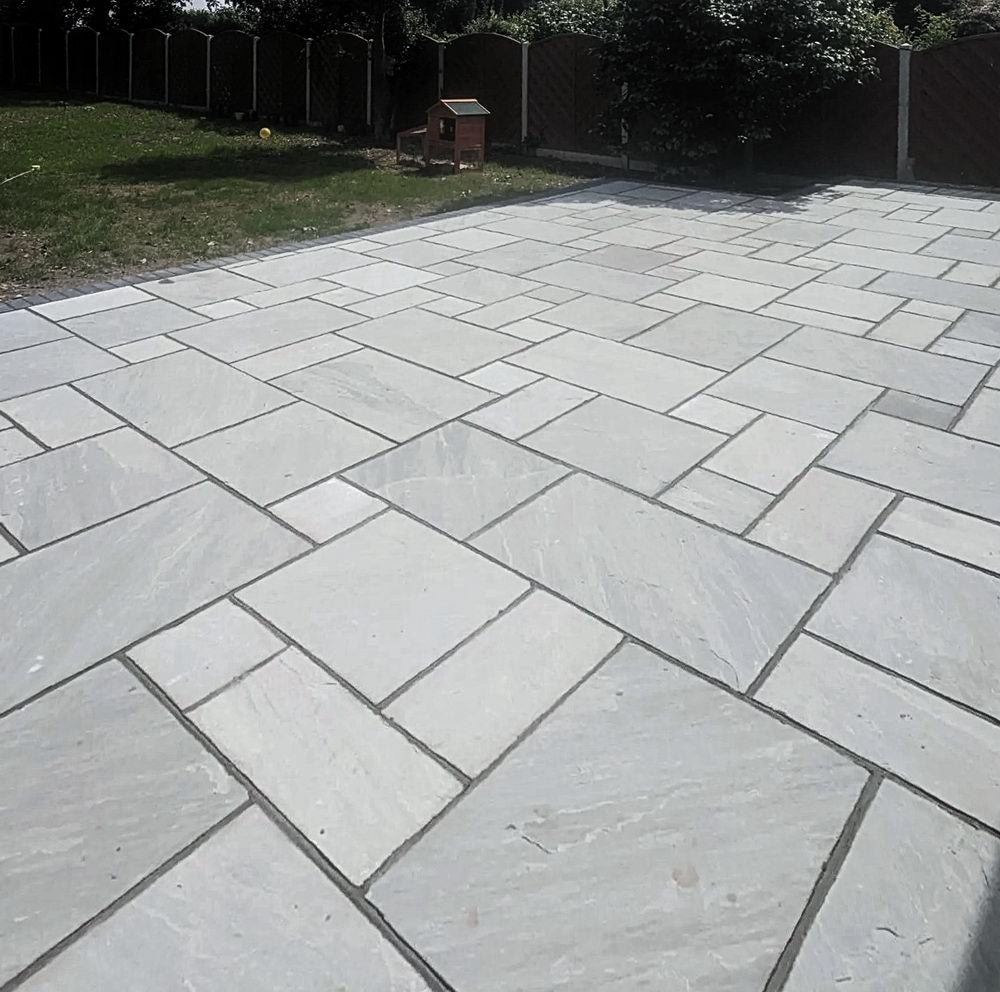 Indian Sandstone Paving Slabs Kandla Grey, 22mm Calibrated Patio Packs £18.52/m2