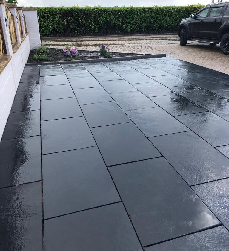 Black Limestone Linear Paving, Midnight Plank Slabs 900 x 200 22mm, £17.80/m2