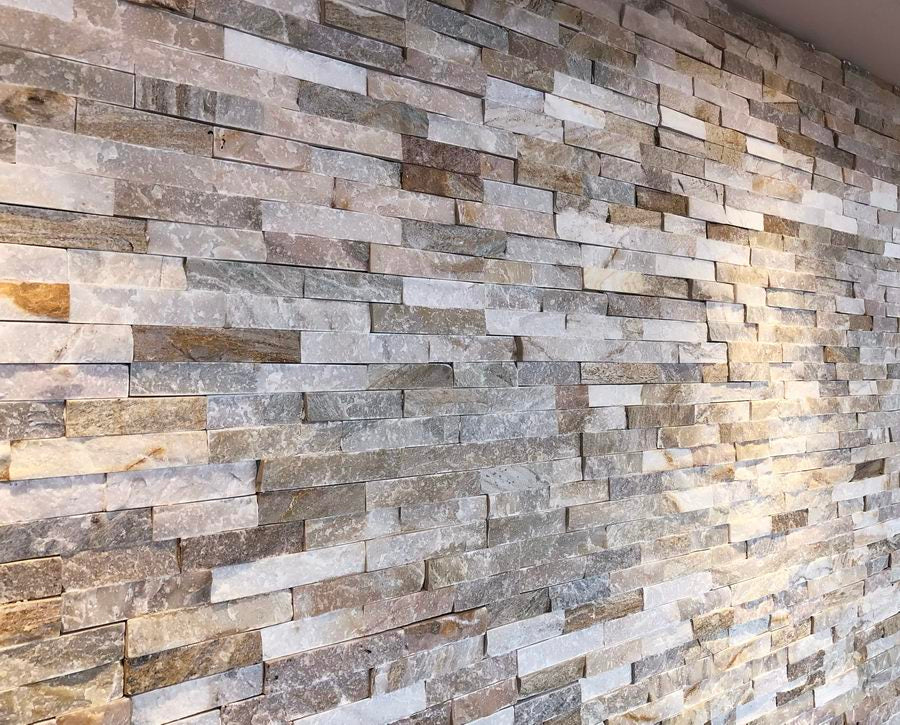 Split Face Tiles, Wall Cladding, Oyster Quartz Cladding 550x150 £28.29/m2